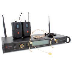 Studiospares 2.4GHz Dual Wireless System Head Set + Lavalier S2.4/HS/LAV