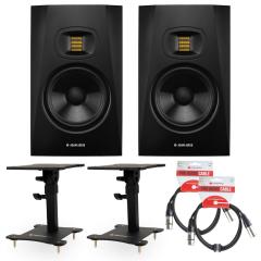 Adam T7V Bundle Desktop Monitor Stands & Leads