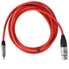 Pro Neutrik XLR Female - Phono Lead 2.5m Red