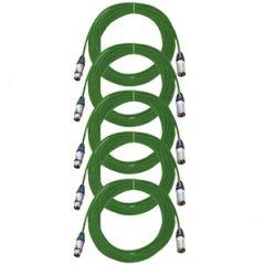 Pro Neutrik XLR Cables 10m Green 5-Pack