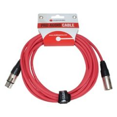 XLR Male - XLR Female Lead 10m Red