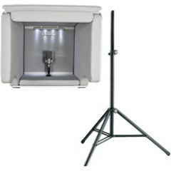 Isovox 2 Portable Vocal Booth White with K&M Stand